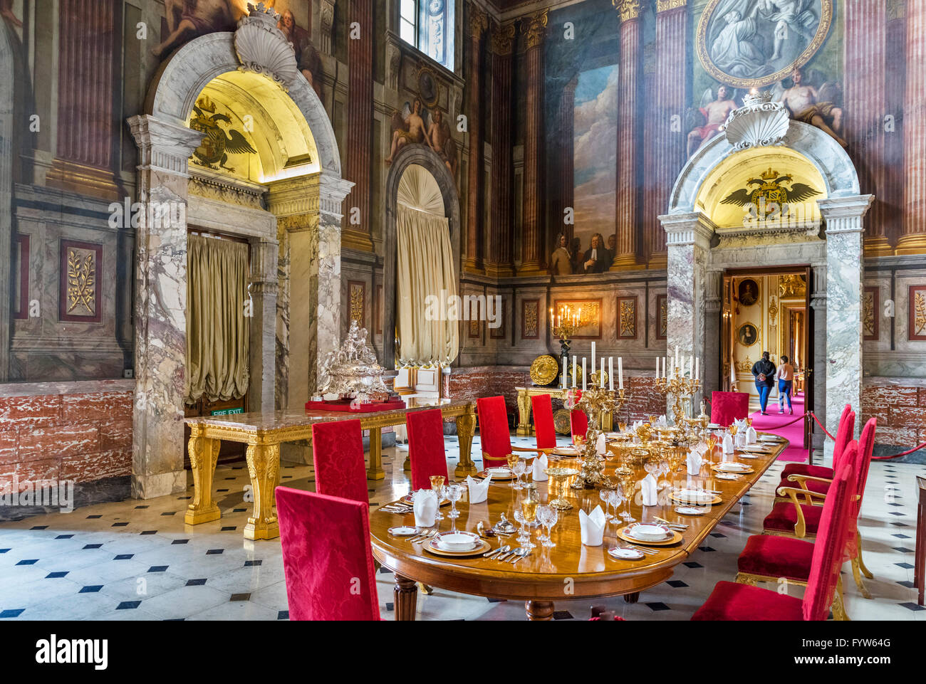 Dining Room, Blenheim Palace, seat of the Dukes of Marlborough and birthplace of Winston Churchill, Woodstock, Oxfordshire, - Stock Image
