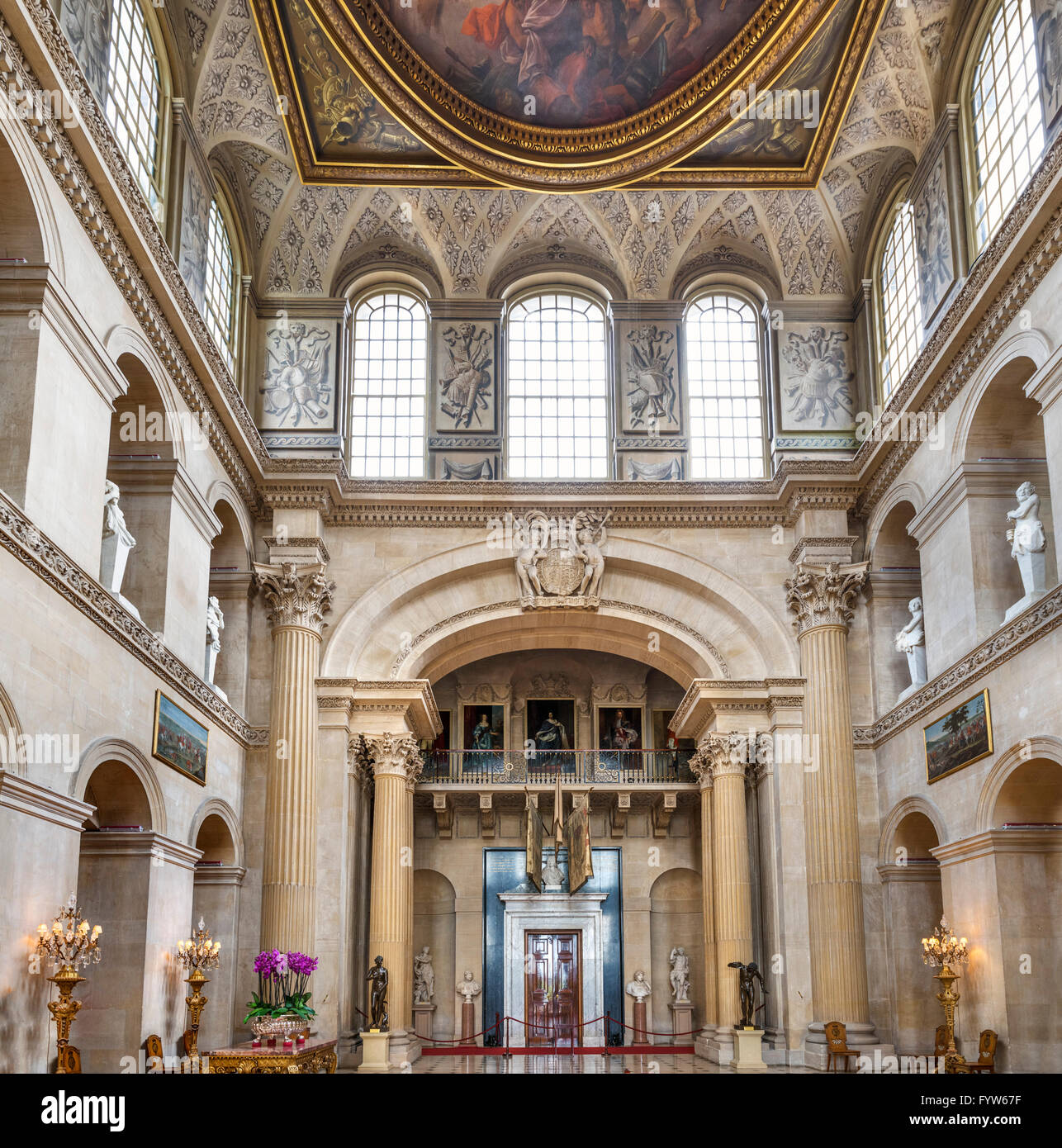 Entrance Hall in Blenheim Palace, seat of  Dukes of Marlborough and birthplace of Winston Churchill, Woodstock, - Stock Image