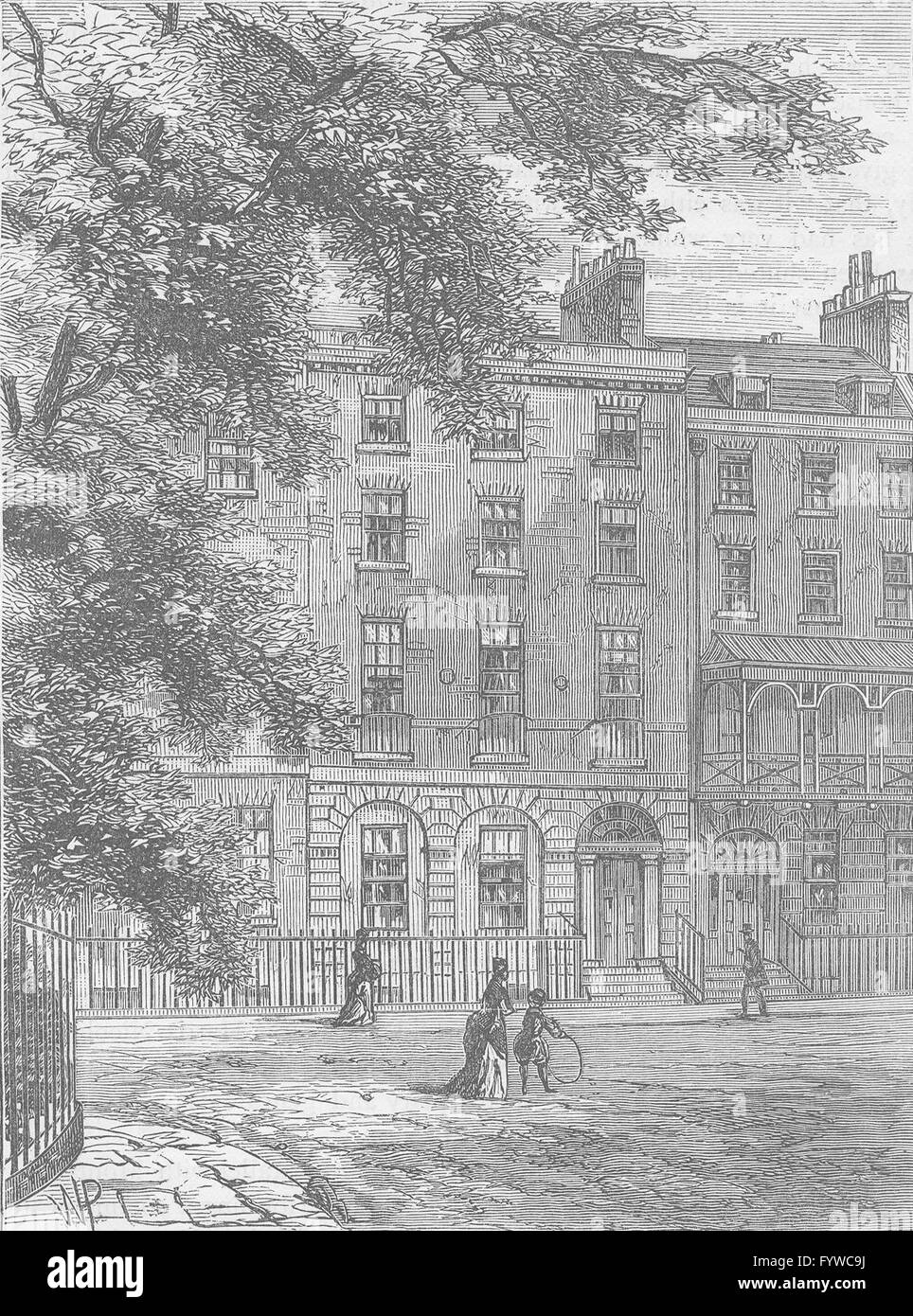 BLOOMSBURY: Sir Thomas Lawrence's House, Russell Square. London, print c1880 - Stock Image