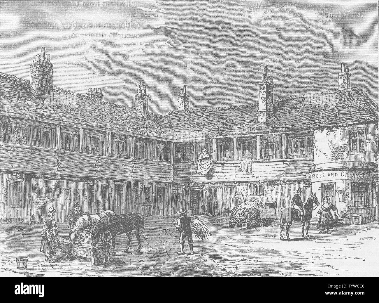 LONDON INNS: Court-yard of the 'Rose and Crown', 1820, antique print c1880 - Stock Image