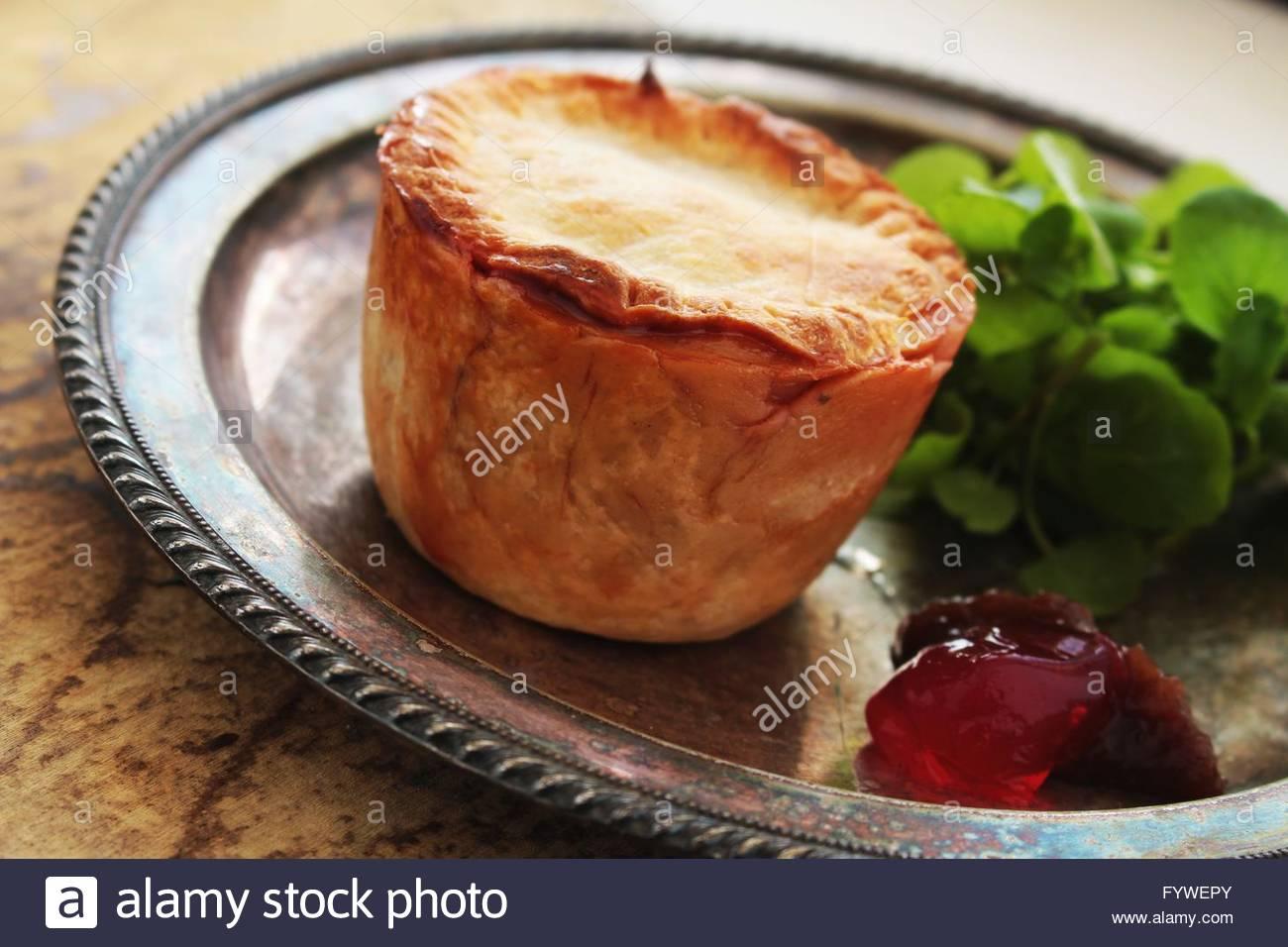 rhubarb pork pie - Stock Image