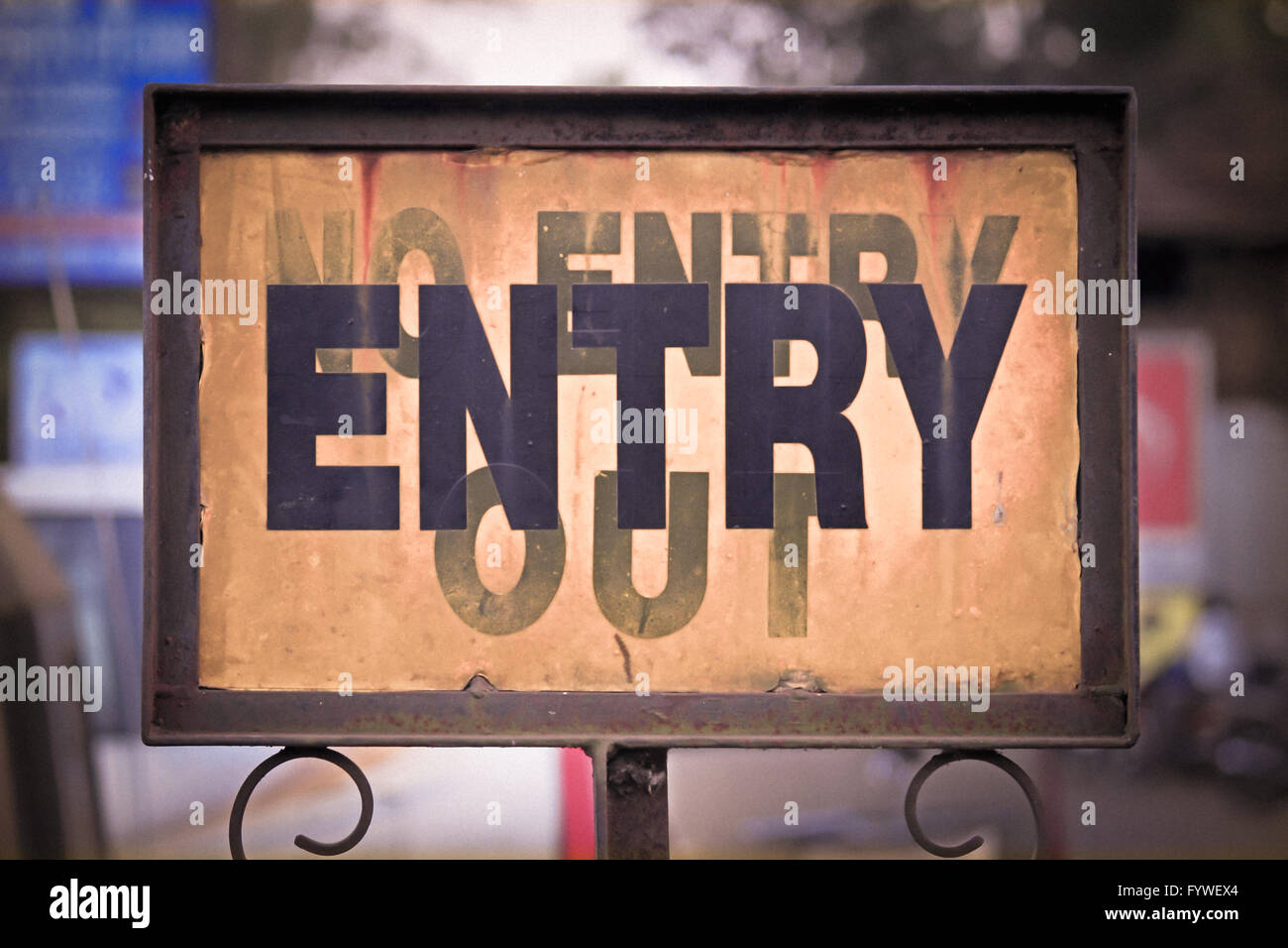 A noticeboard indicating Entry - Stock Image