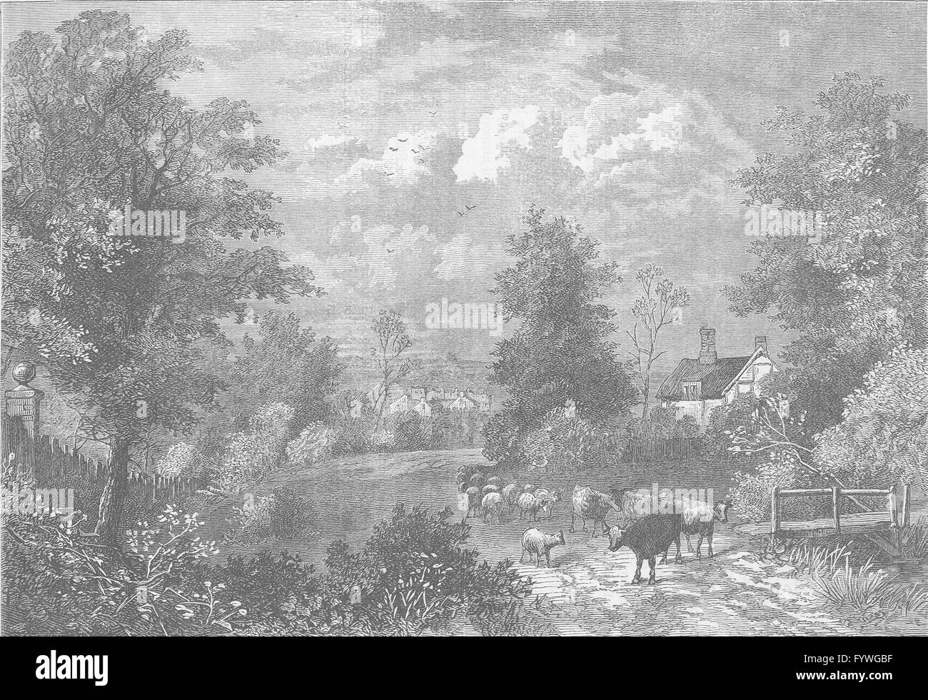 NOTTING HILL: View in 1750. London, antique print c1880 - Stock Image