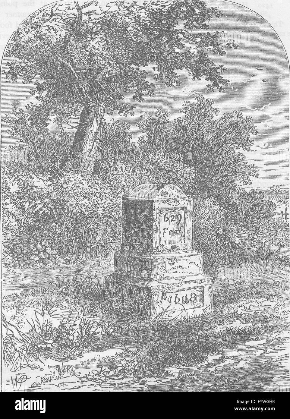 HOLLOWAY: Whittington's stone in 1820. London, antique print c1880 - Stock Image