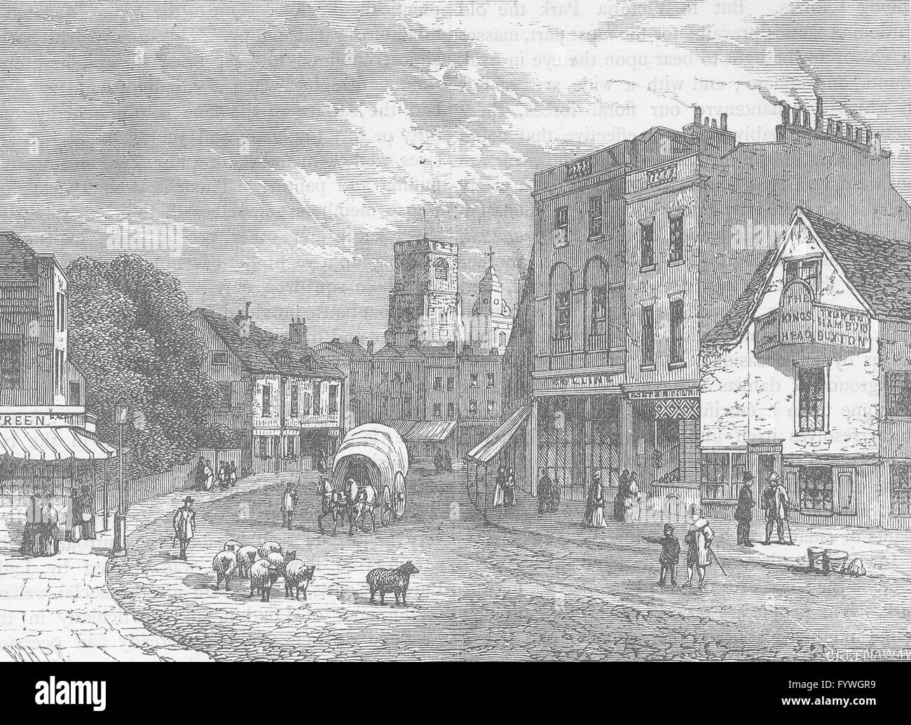 HACKNEY: Hackney, looking towards the church, 1840. London, old print c1880