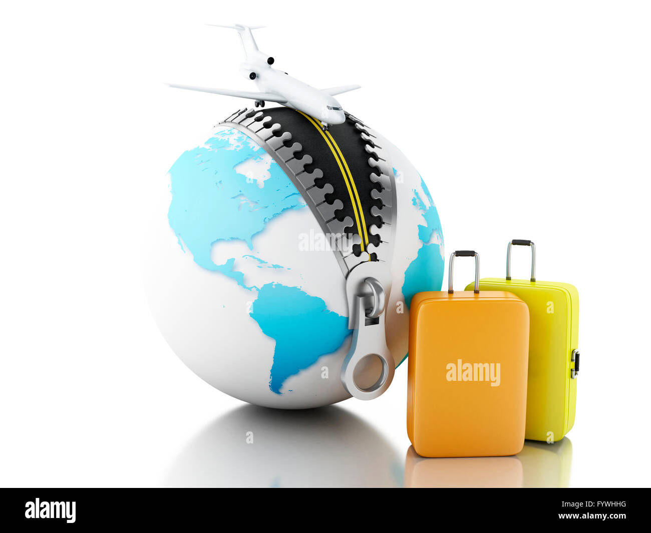 3d Renderer Image Globe Ball With Zipper Open Airplane And Stock Photo Alamy