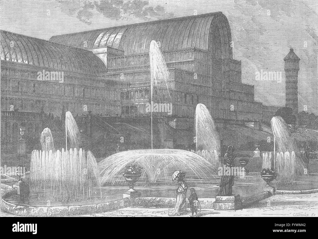 SYDENHAM: The Crystal Palace, from the South. London, antique print c1880 - Stock Image