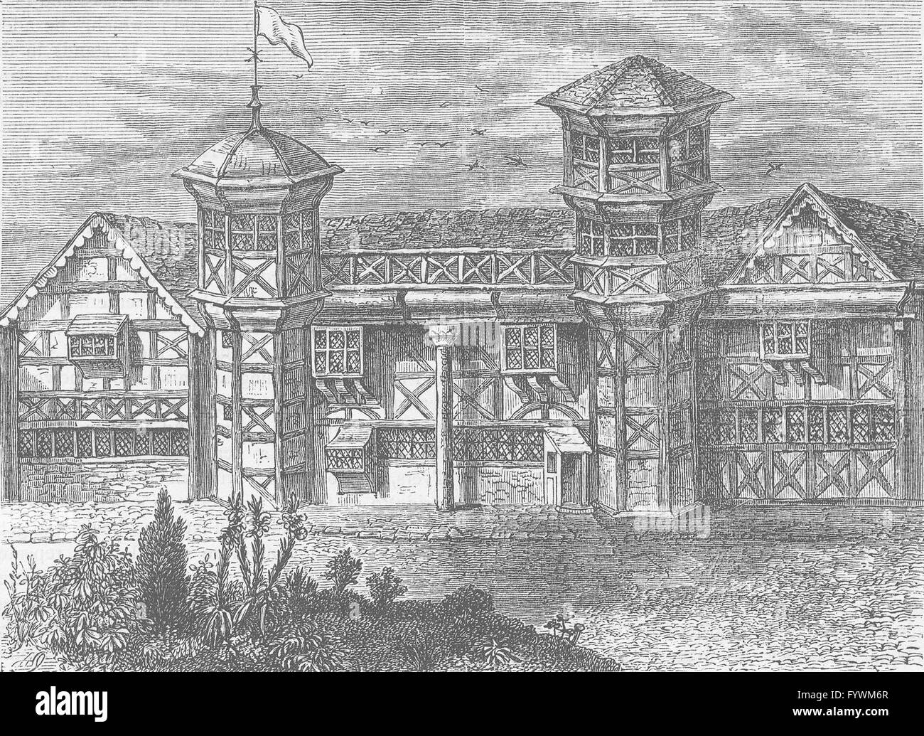 VAUXHALL: The old manor-House at Vauxhall, about 1800. London, old print c1880 - Stock Image