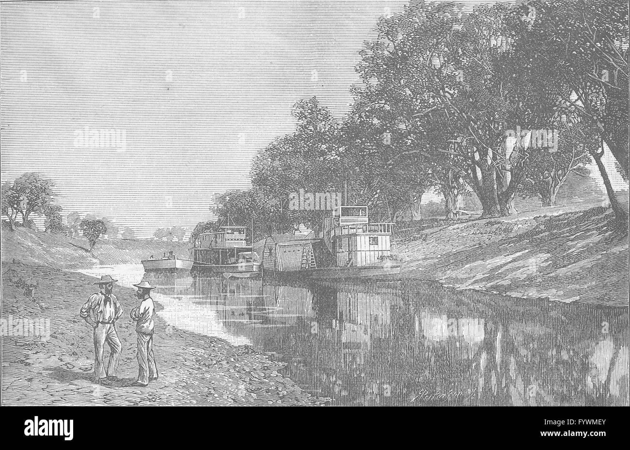 AUSTRALIA: Darling in drought Bourke, antique print 1890 - Stock Image