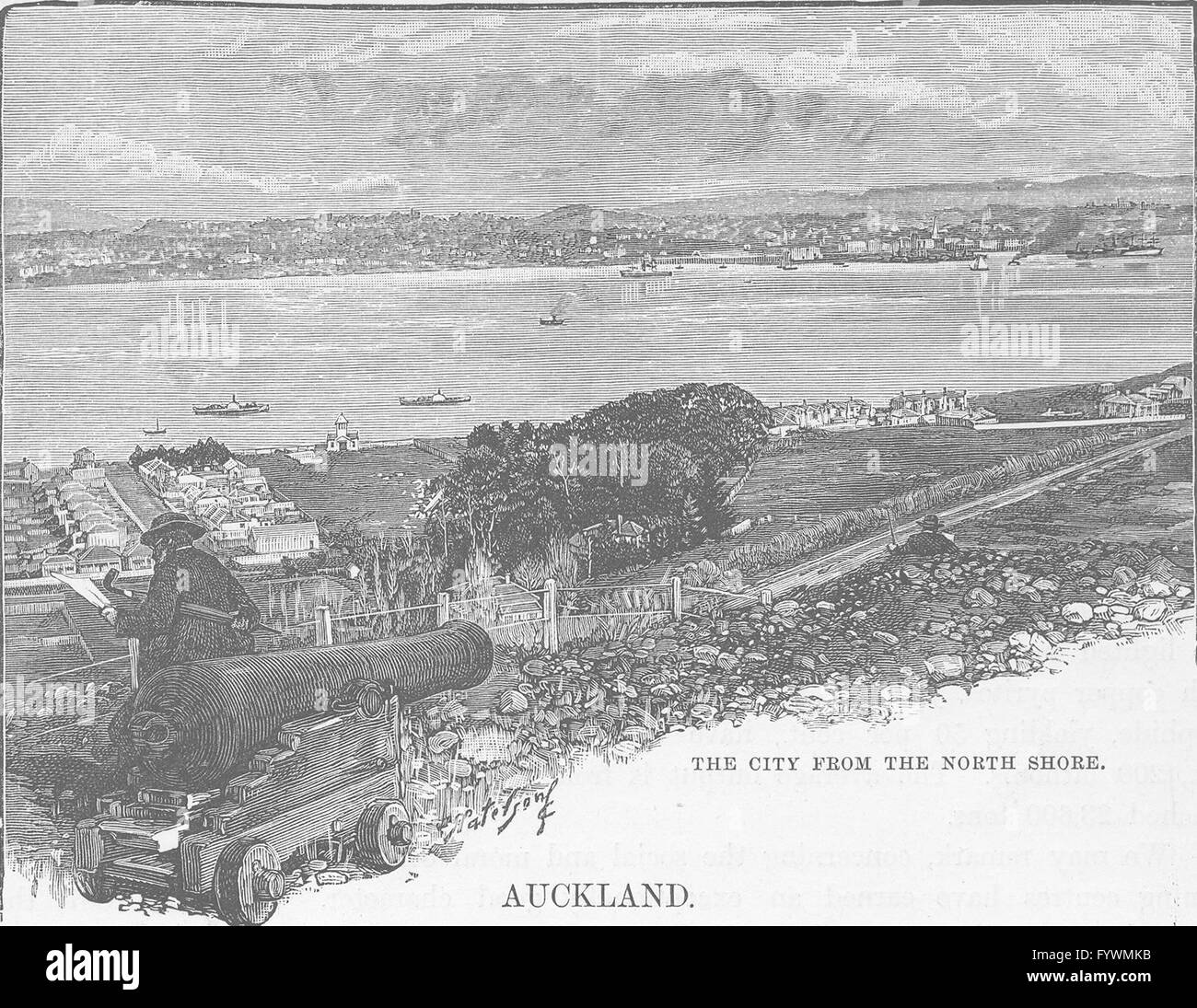 NEW ZEALAND: Auckland: city shore, antique print 1890 - Stock Image
