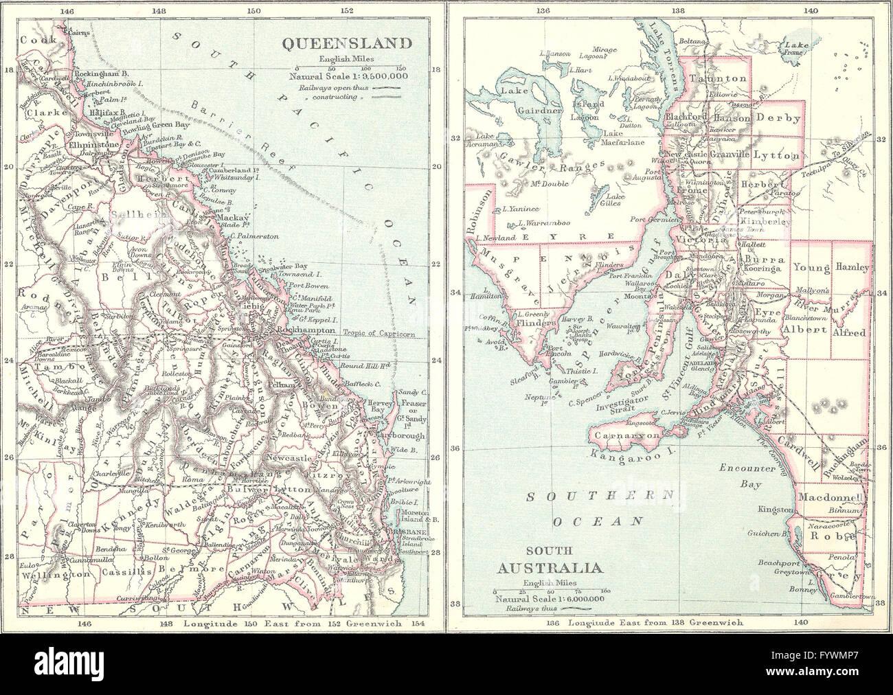 AUSTRALIA: Queensland; South, 1890 antique map - Stock Image