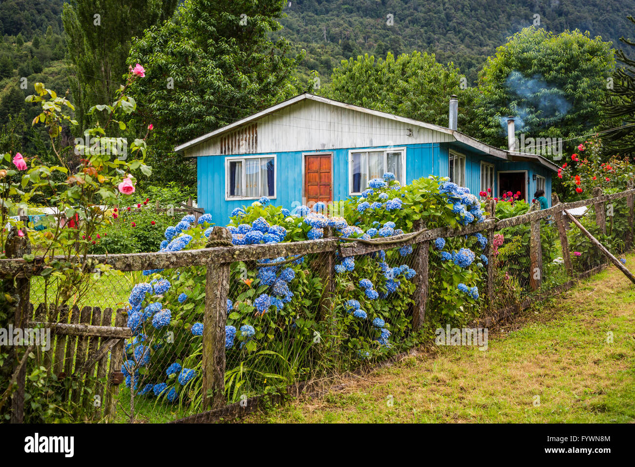 A rural farm home in the Hidden Valley near Puerto Aysen, Chile, South America. - Stock Image