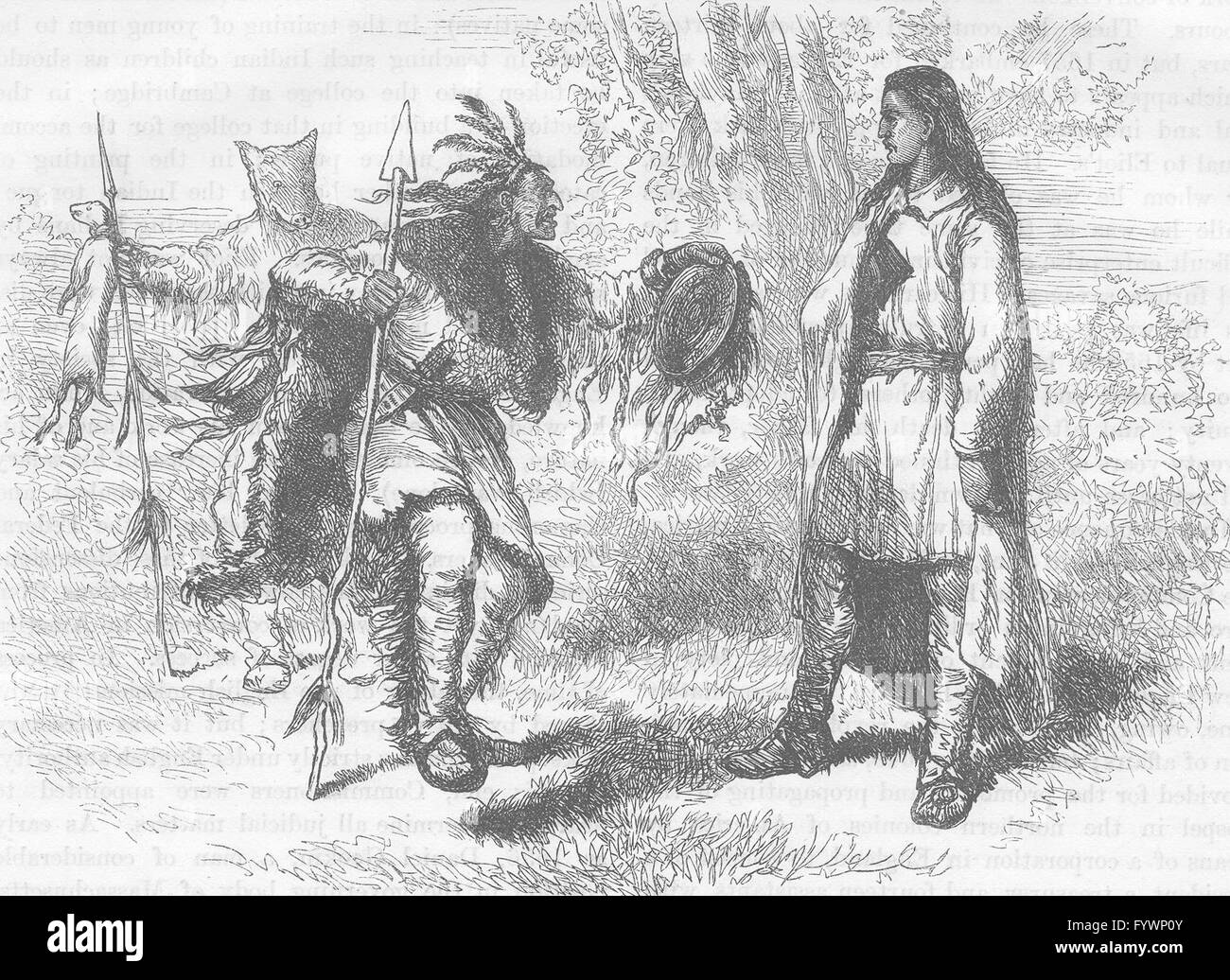 USA: Converted Indian and Powows, antique print c1880 - Stock Image