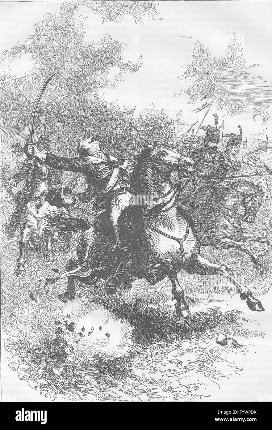 USA: The charge of Pulaski, antique print c1880 - Stock Image