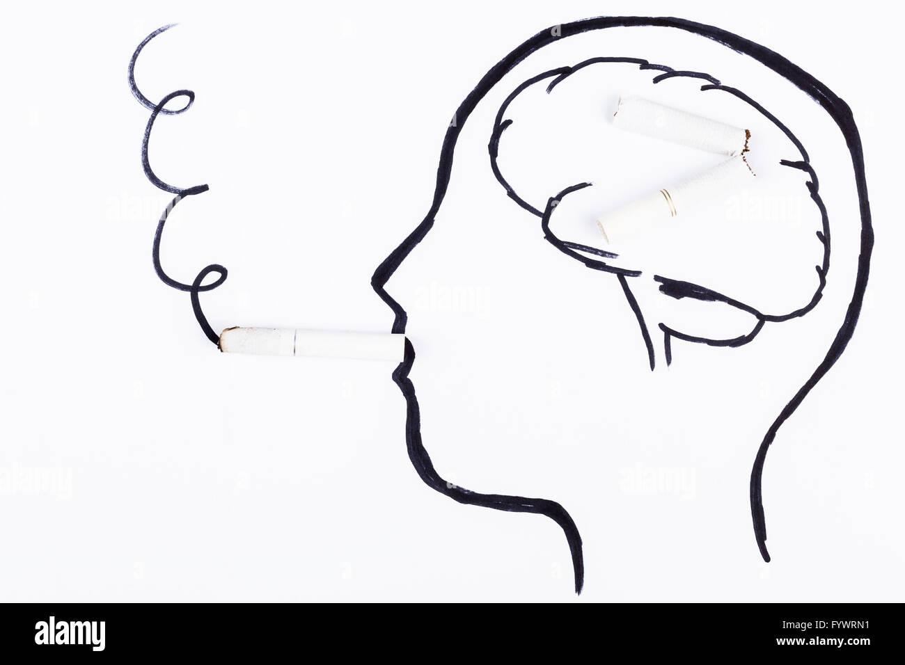 Smoking Brain - Stock Image