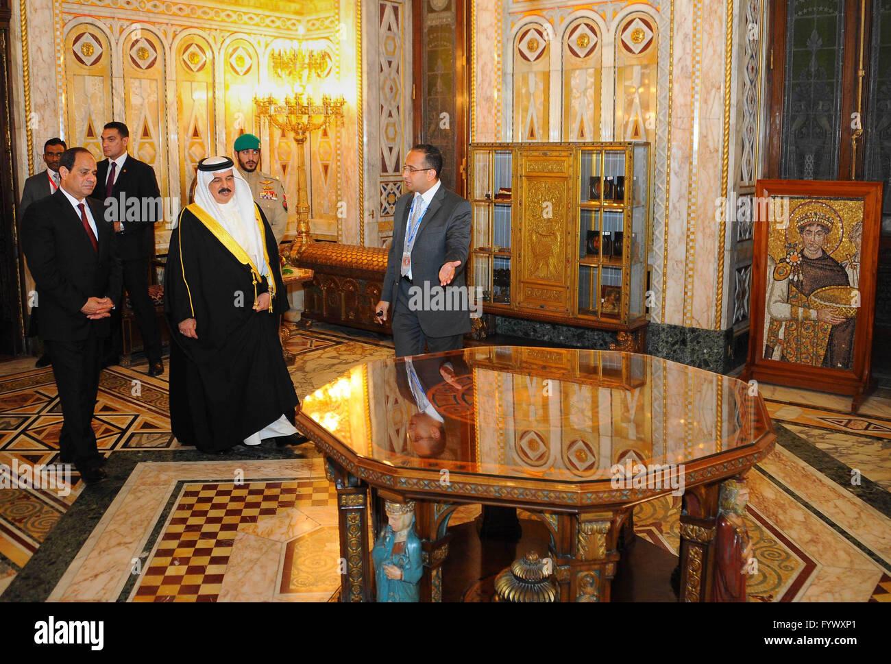 Cairo Egypt 27th Apr 2016 Egyptian President Abdel Fattah Al Sisi With Bahrains King Hamad Bin Issa Khalifa Visit The Abdeen Palace In