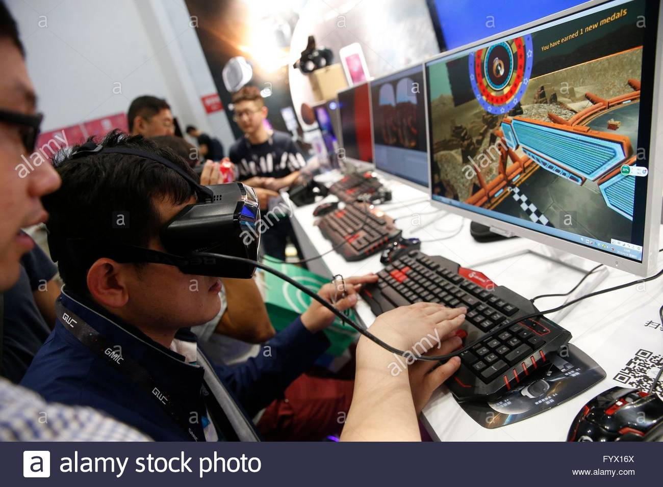 Many products of the Hot topics such as smart home and VR appearred at the Global Mobile Internet Conference at - Stock Image