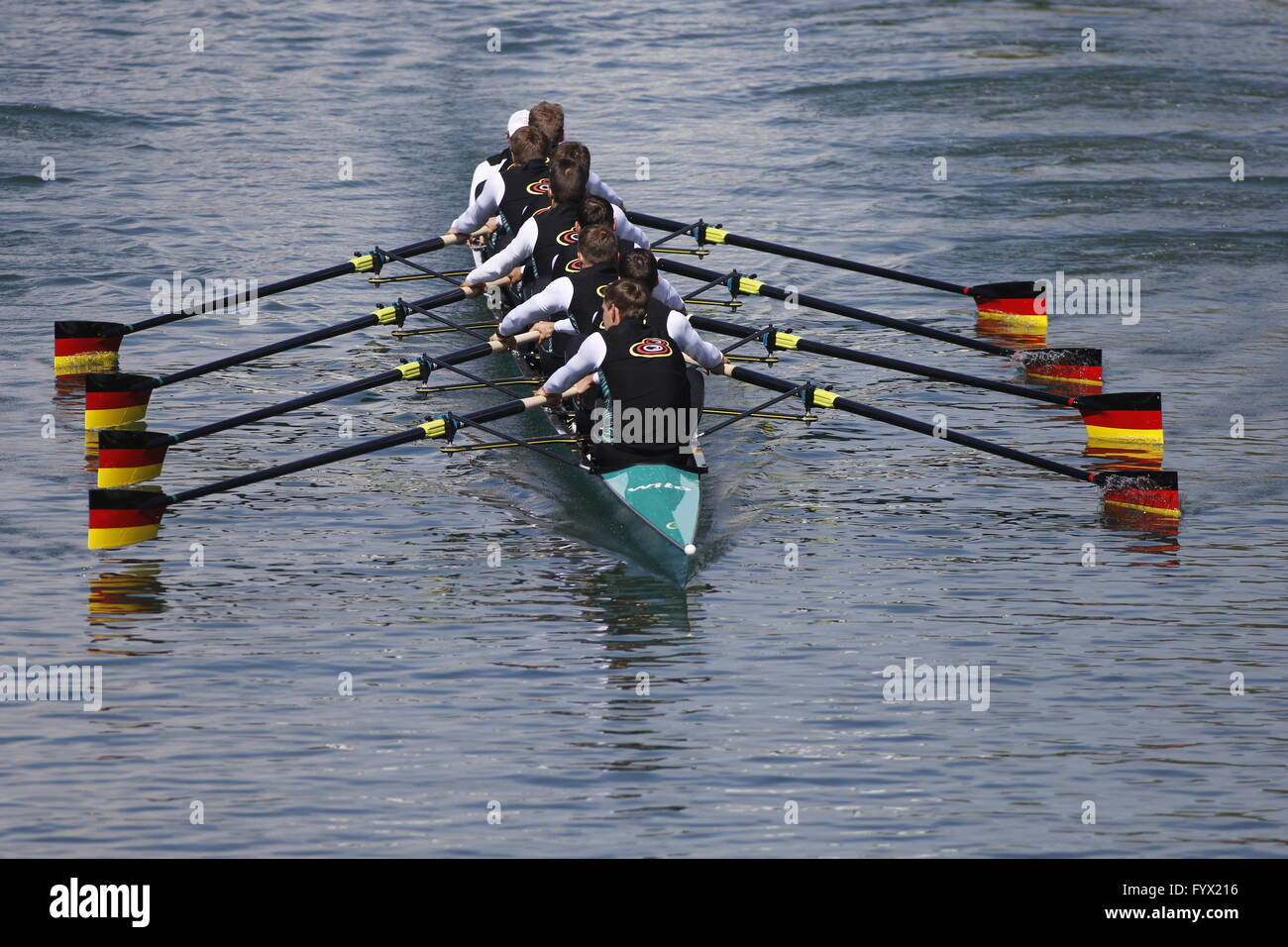 Dortmund, Germany. 28th Apr, 2016. The German men's Eight Olympic rowing team, including Martin Sauer, Hannes - Stock Image