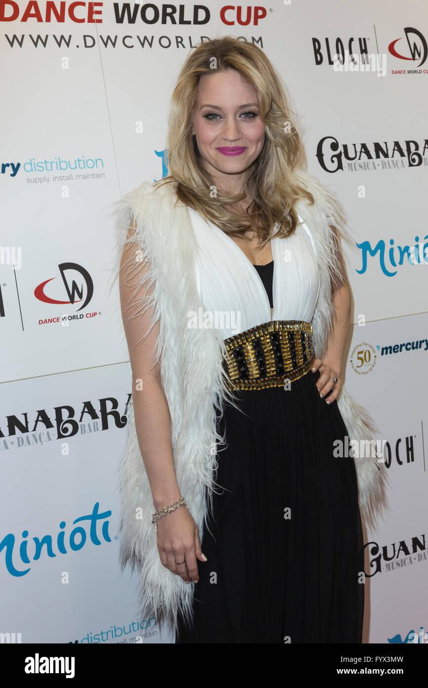 London, UK. 28 April 2016. Singer, dancer and choregrapher Kimberly Wyatt, formerly of Pussycat Dolls. The press Stock Photo