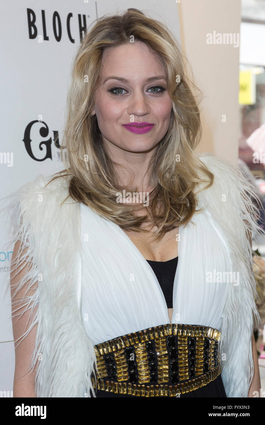 London, UK. 28 April 2016. Singer, dancer and choregrapher Kimberly Wyatt, formerly of Pussycat Dolls. The press Stock Photo