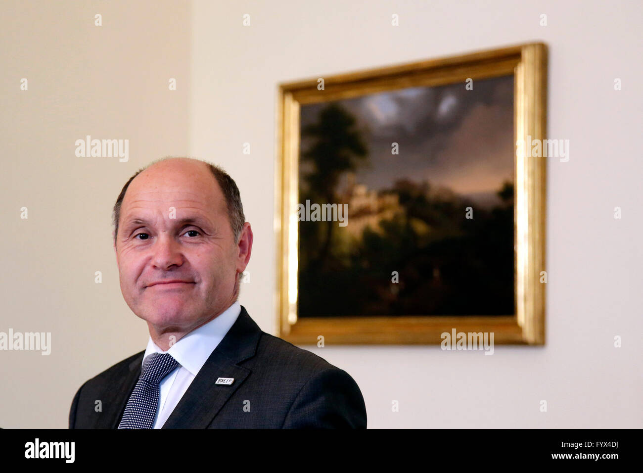 Volfgang Sobotka Rome 27th April 2016. Austrian Embassy. Press conference of the Minister of Interior of Austria - Stock Image