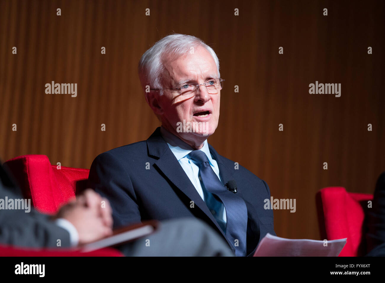 Medal of Honor recipient and former U.S. Sen. Bob Kerrey speaks about Vietnam on the final day of the Vietnam War Summit Stock Photo