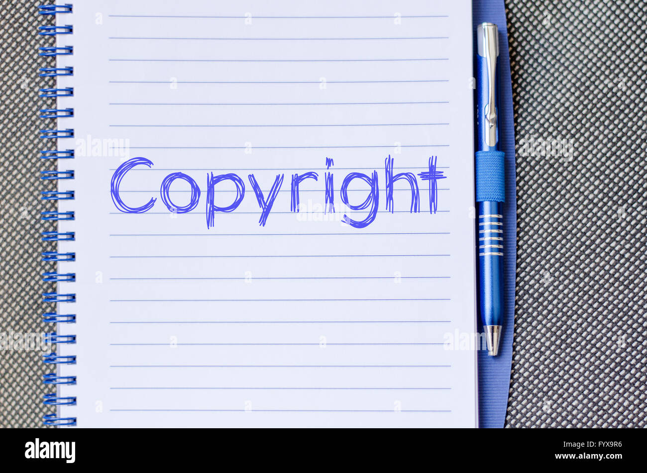 Copyright write on notebook - Stock Image