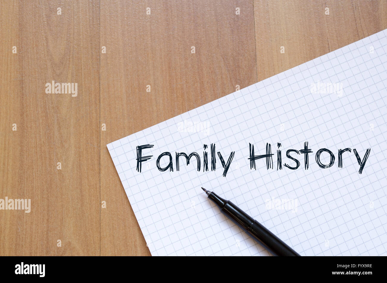 Family history write on notebook - Stock Image