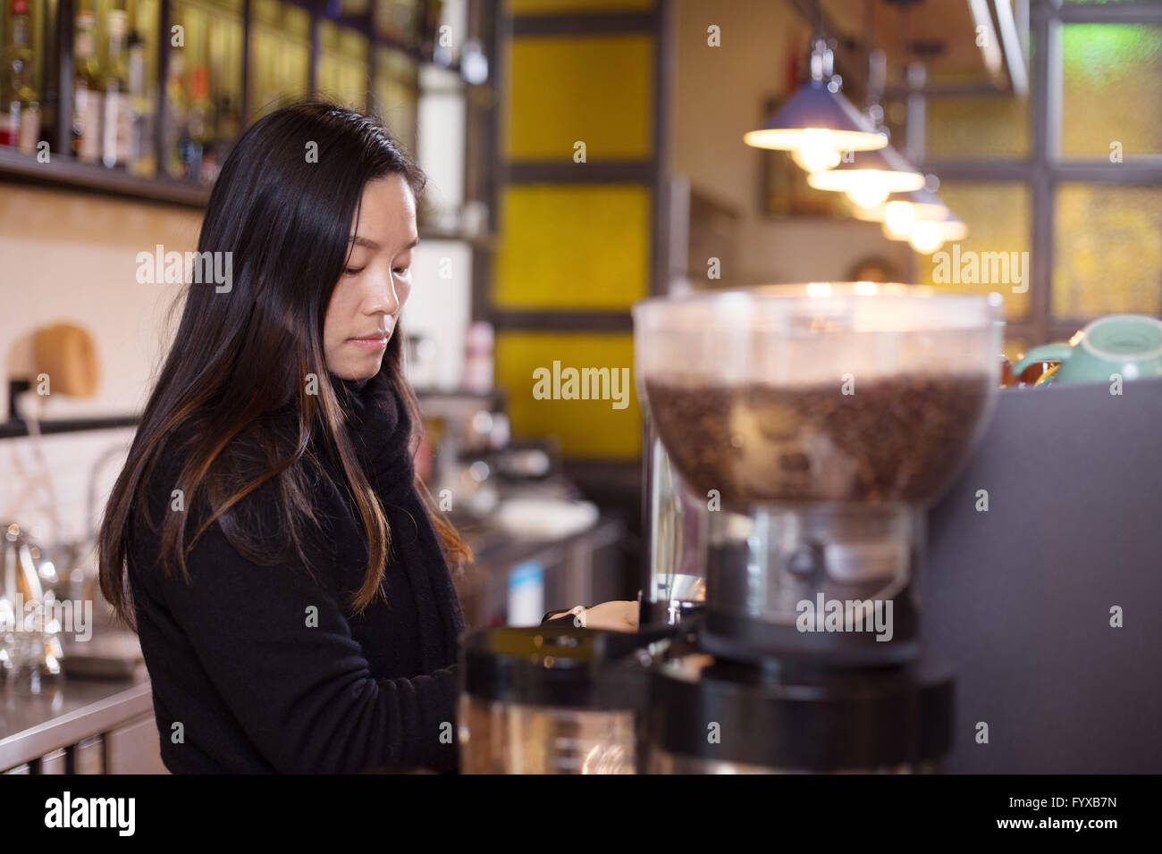 people make coffee in cafe - Stock Image