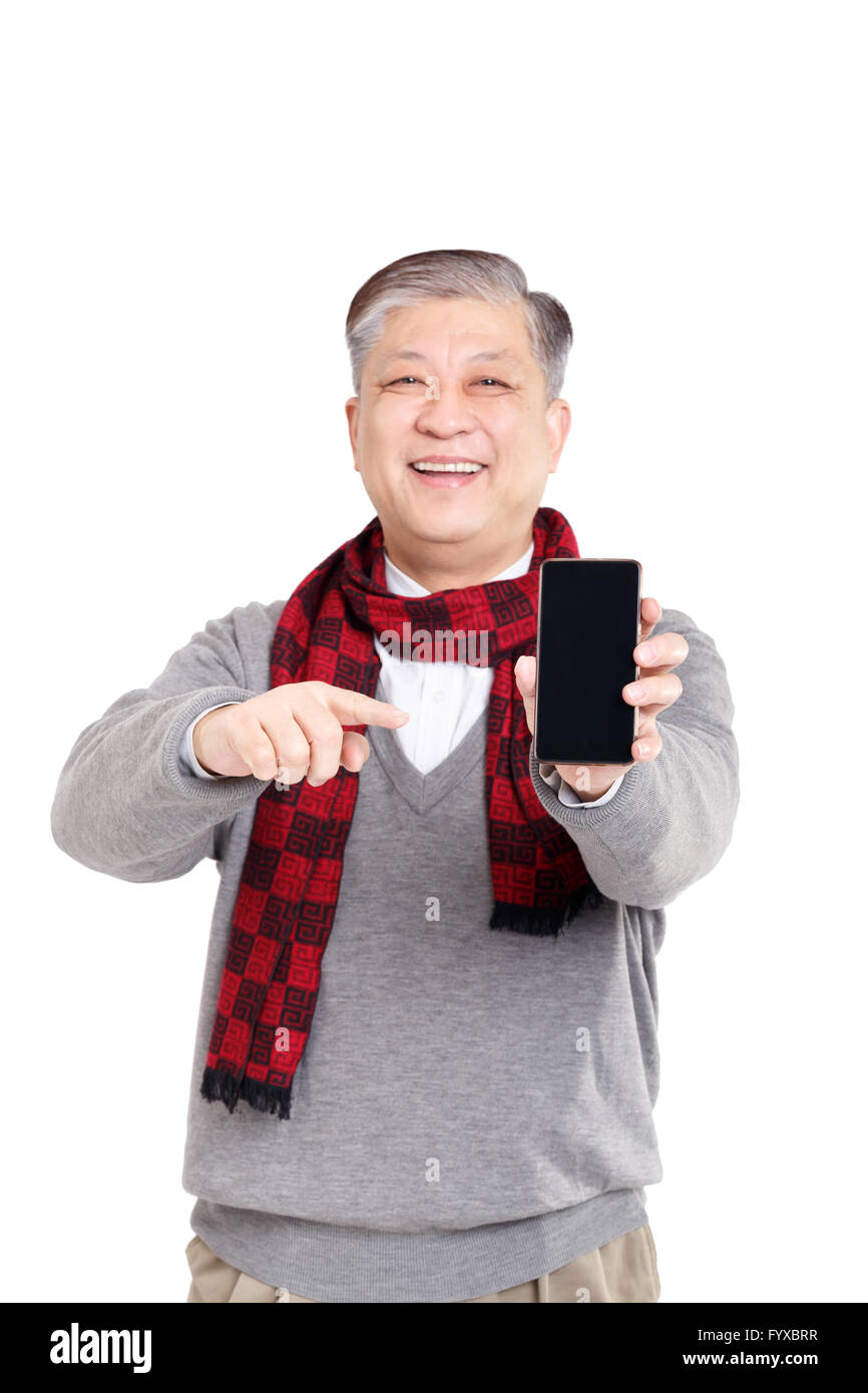 portrait old smiling Asian man standing confidently Stock Photo