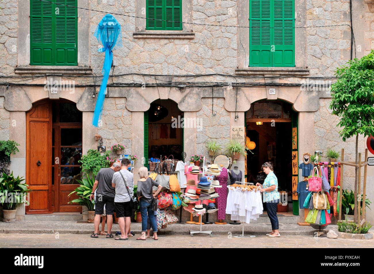 Old part of town, Valldemossa, Mallorca, Spain / souvenir shop Stock Photo