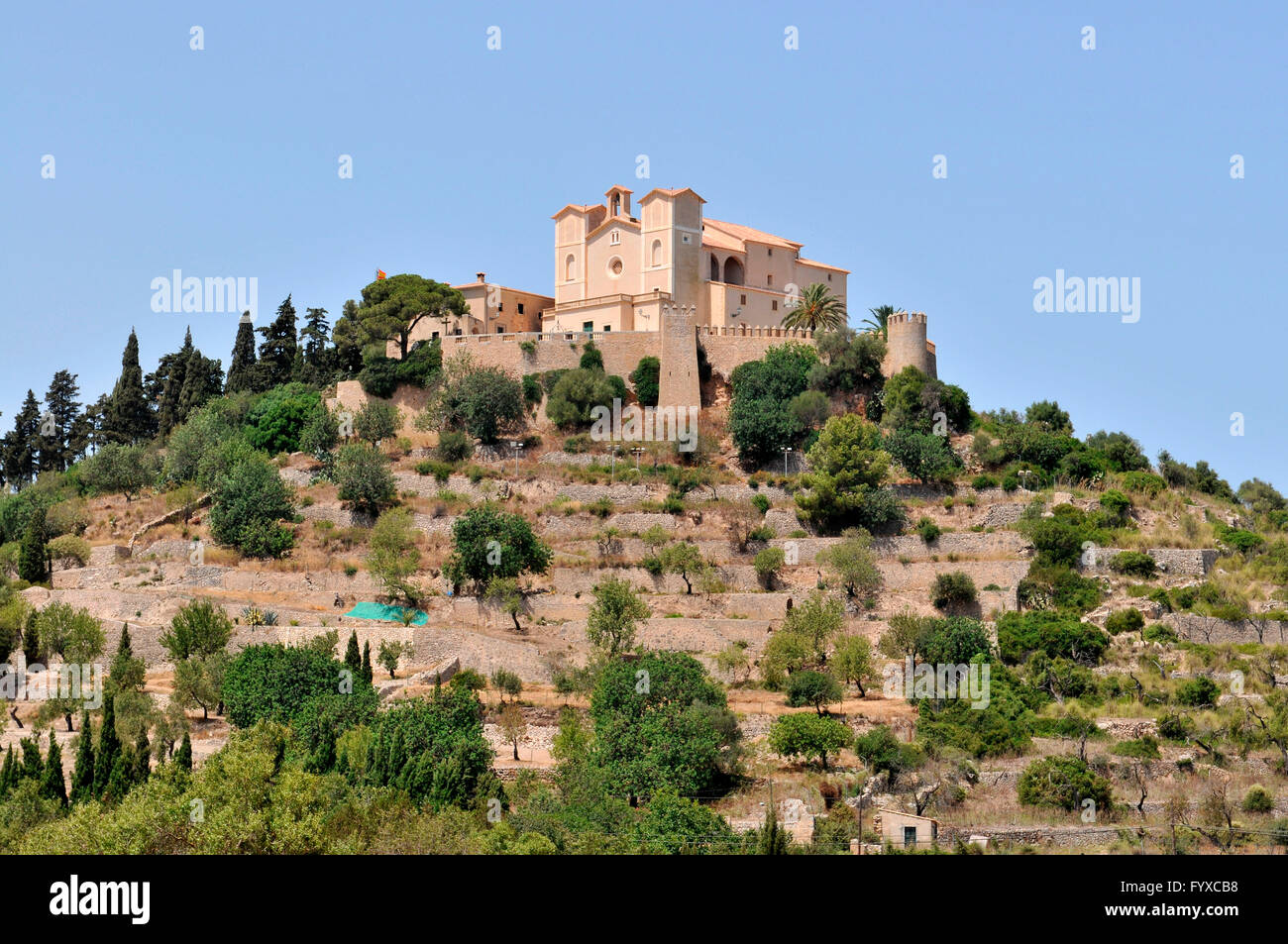 Fortress church San Salvador, Arta, Mallorca, Spain - Stock Image