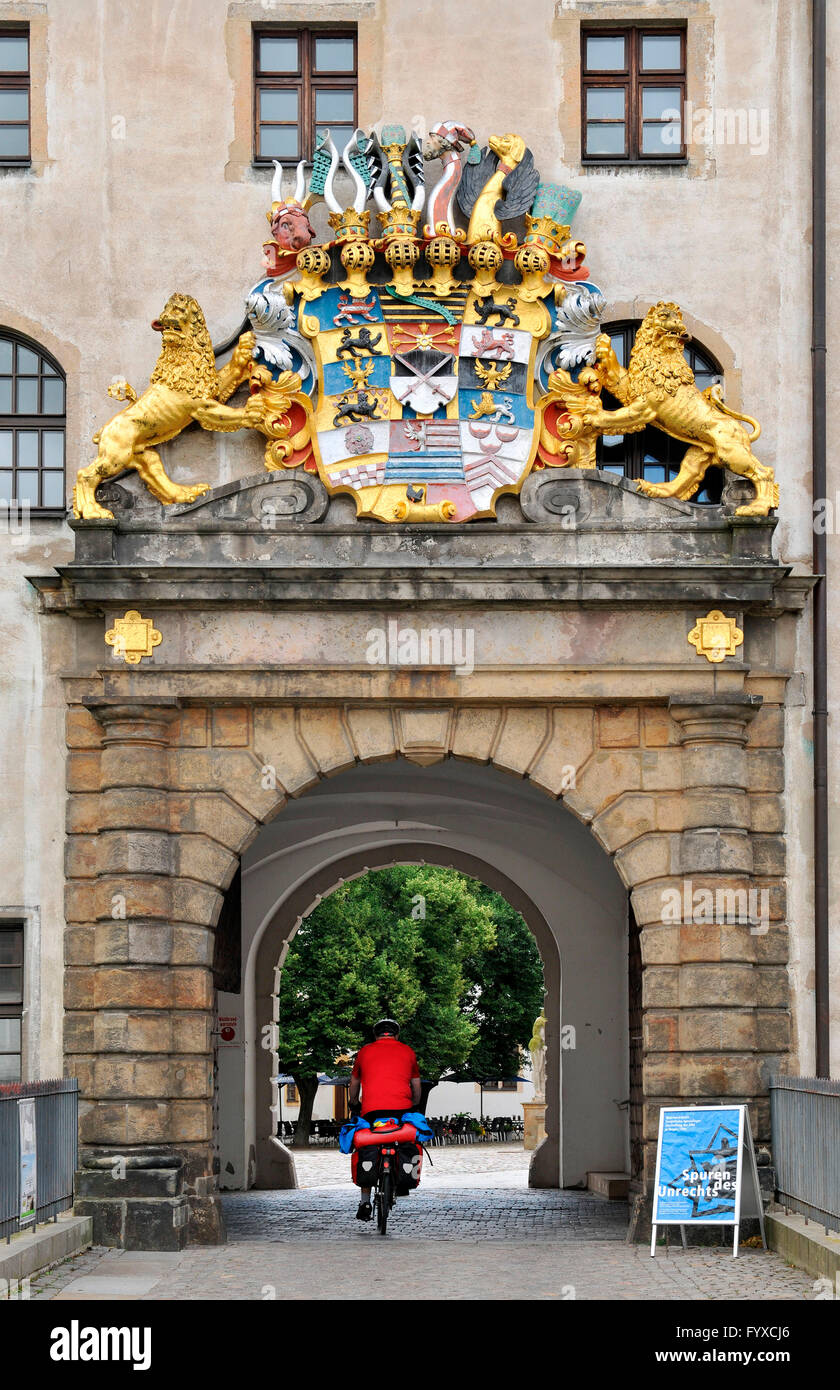 Coat of arms, castle Hartenels, Torgau, Saxony, Germany Stock Photo