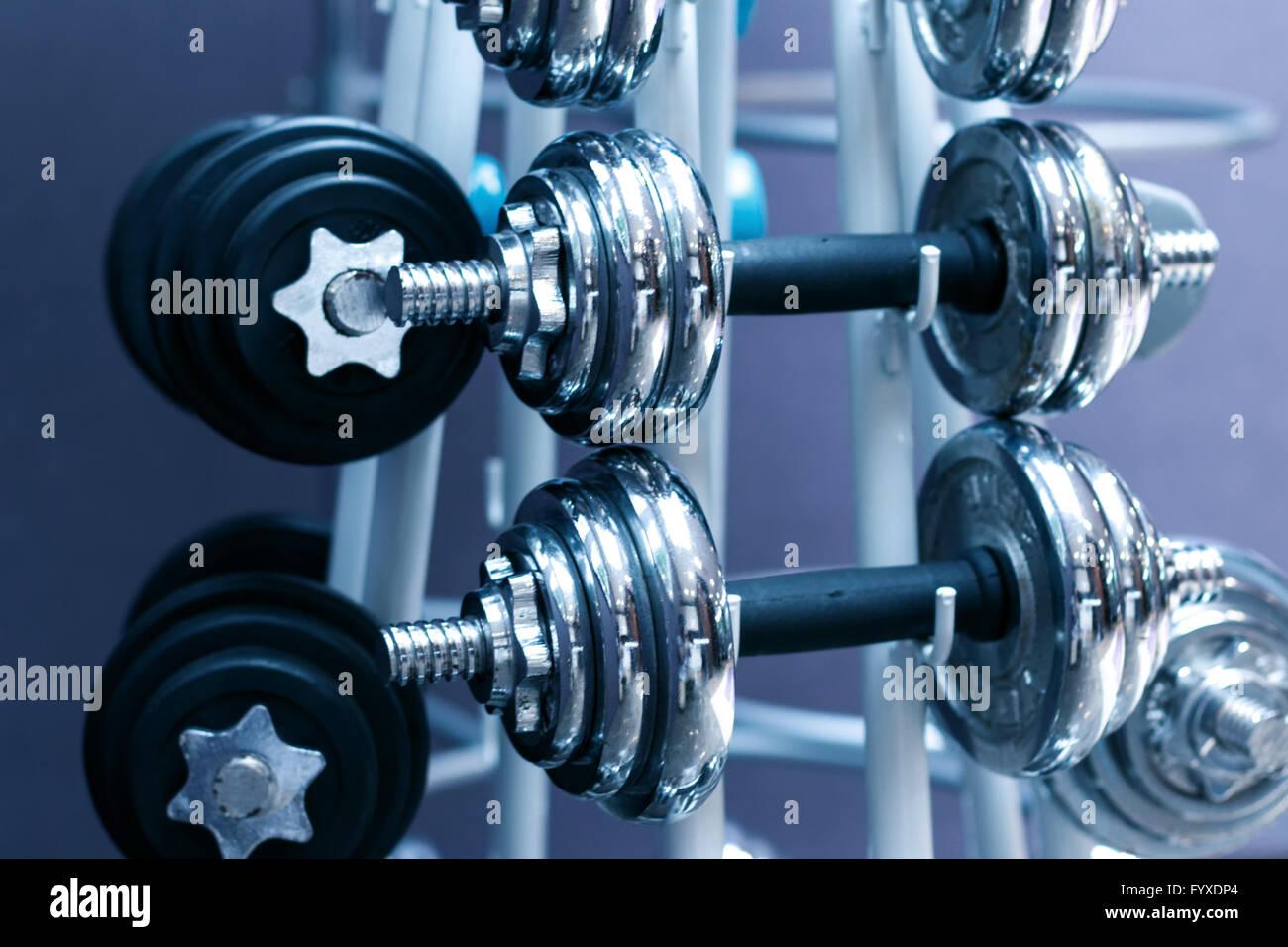 equipment in modern exercise room - Stock Image