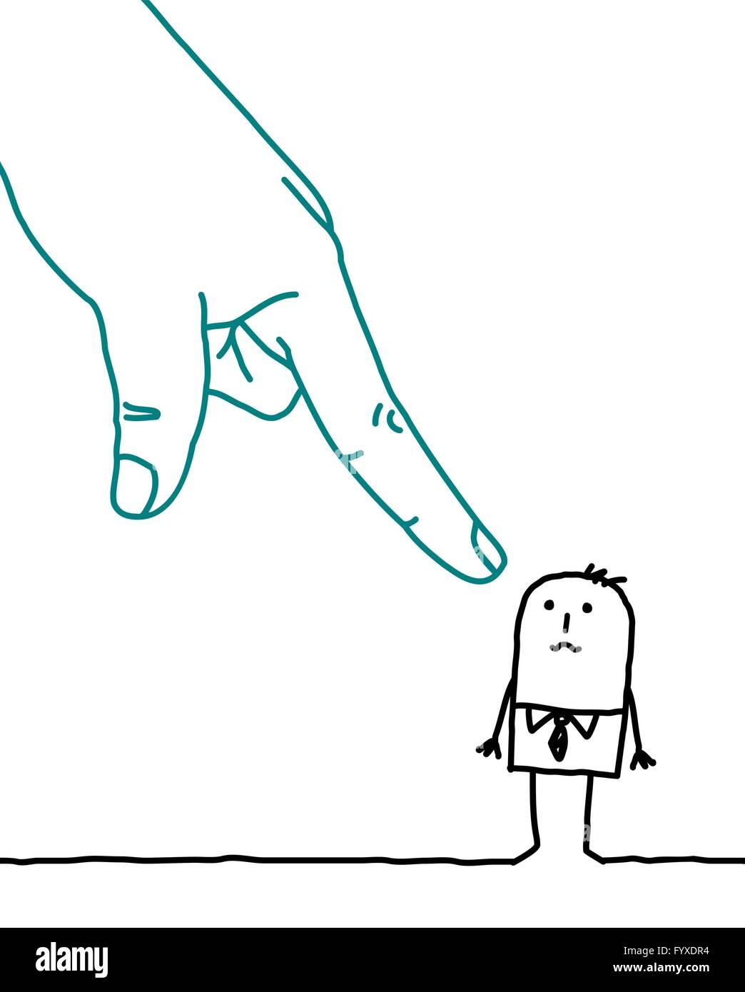 big hand and cartoon businessman - accusation - Stock Image