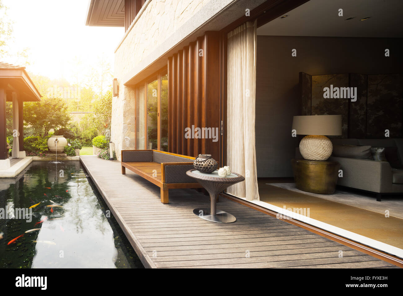 Home Design Et Deco design and deco in rest place outside house stock photo