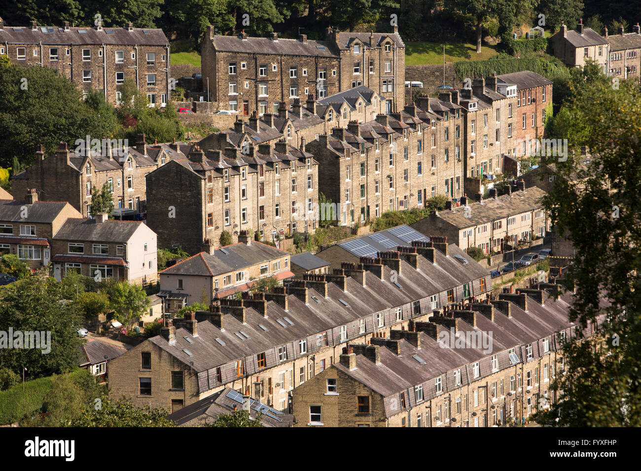 UK, England, Yorkshire, Calderdale, Hebden Bridge, five storey, flying freehold 'upstairs downstairs' houses - Stock Image
