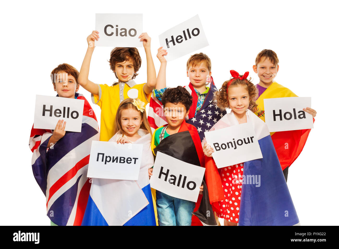 Kids holding greeting signs in different languages stock photo kids holding greeting signs in different languages m4hsunfo