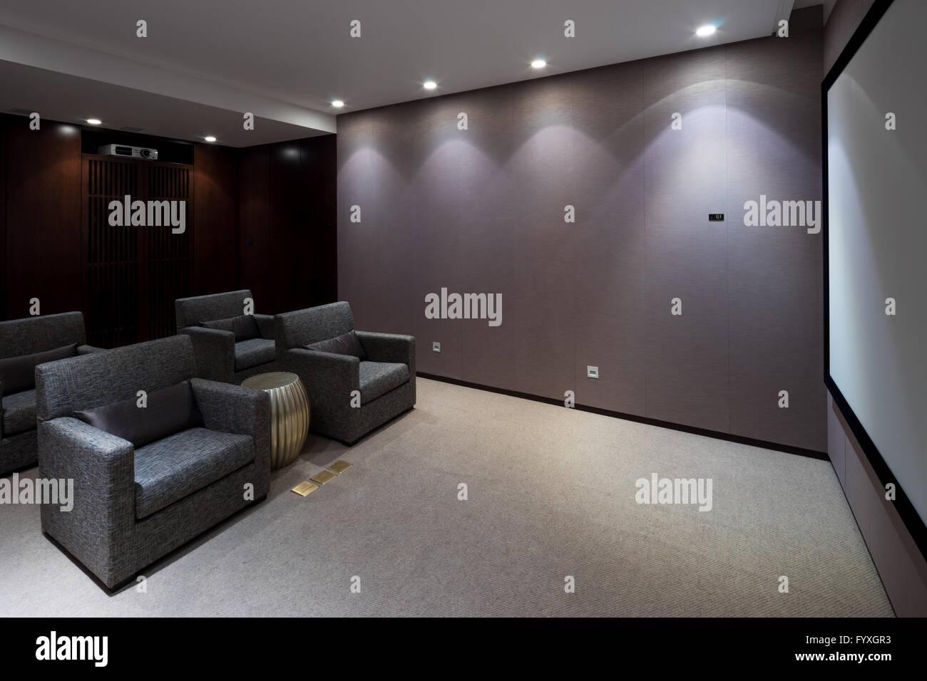 Interior Of Modern Home Theatre   Stock Image