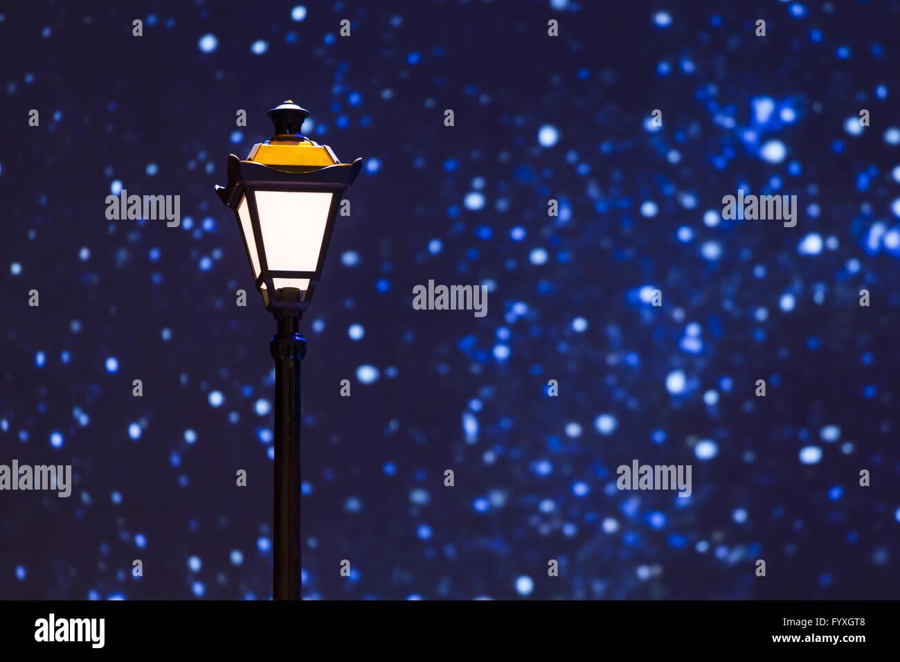 Street lamp night sky stars - Stock Image