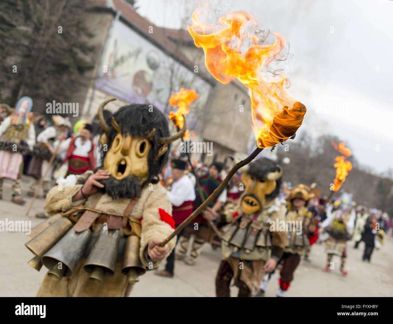 Surva mask costume festival fire - Stock Image