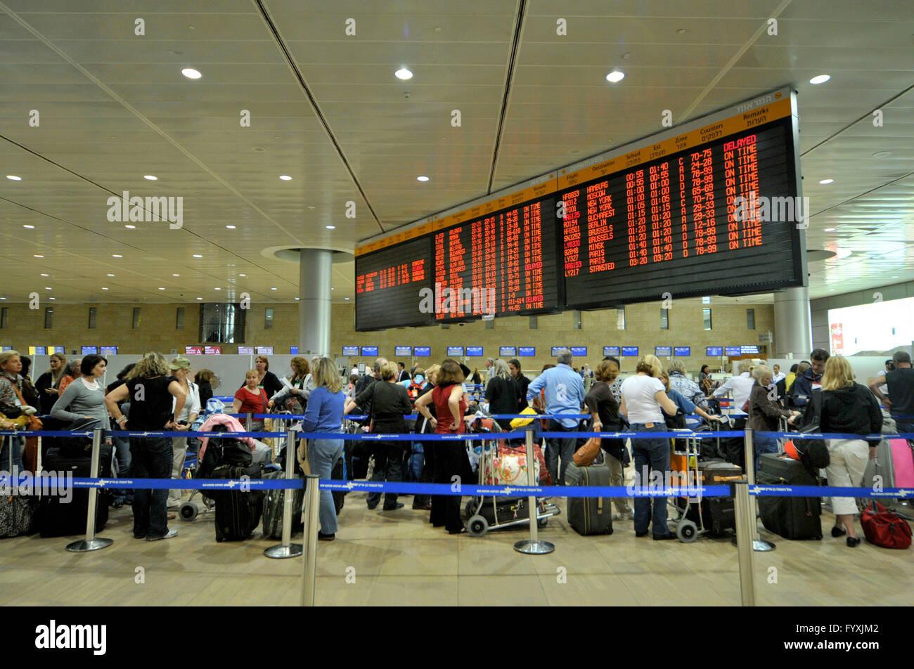 Departure hall checkin Ben Gurion Airport Tel AvivJaffa Israel