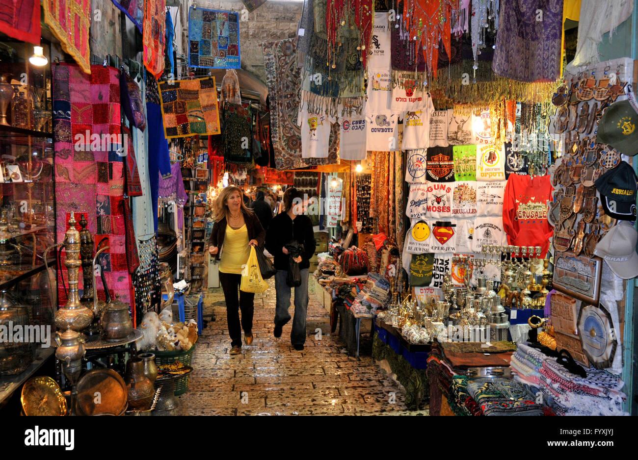 Souvenir shops, gift, souq, souk, Christian Quarter, Old City Stock