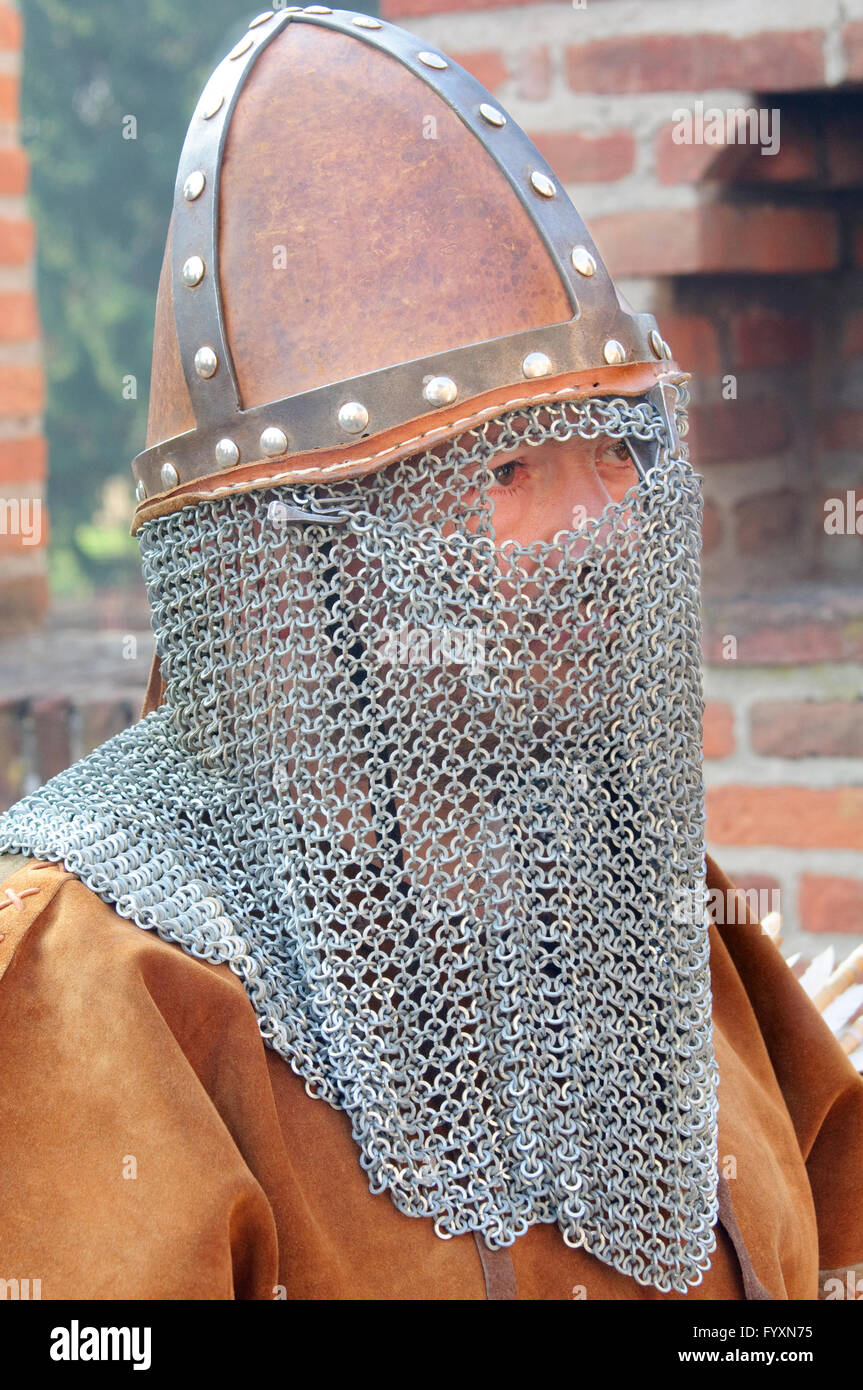 Italy, Lombardy,  Historical Reenactment, Medieval Soldier, Helmet - Stock Image