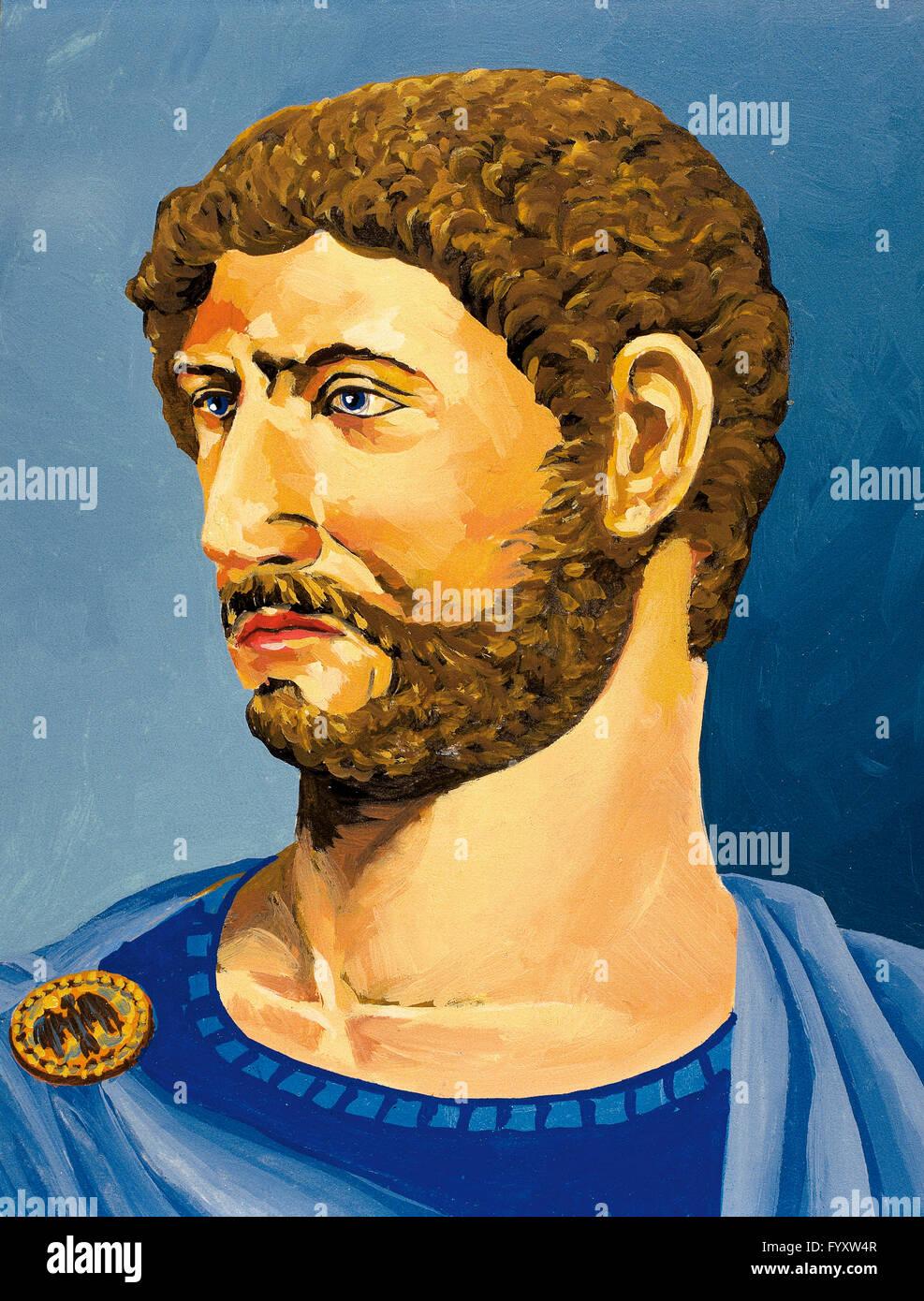 Hadrian (76-138). Roman emperor.  Watercolor. - Stock Image