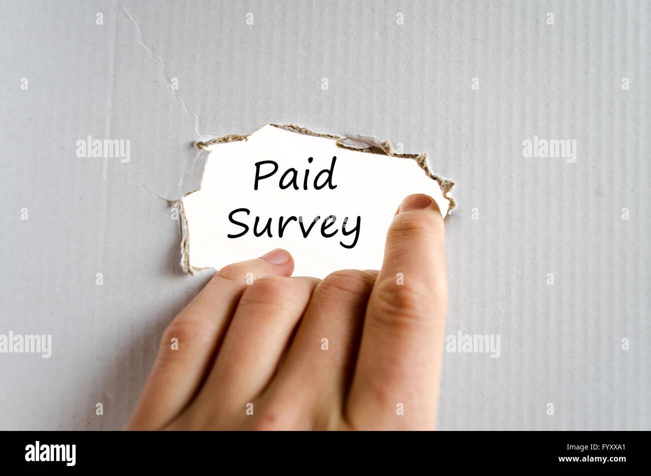 Paid survey text concept - Stock Image