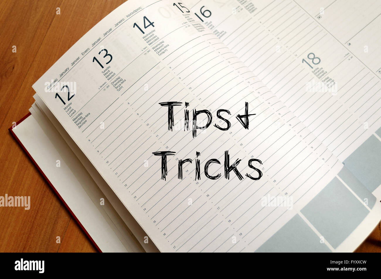 Tips and tricks write on notebook - Stock Image