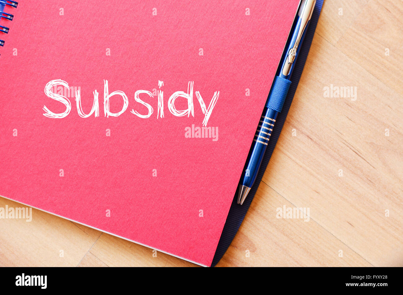 Subsidy write on notebook - Stock Image