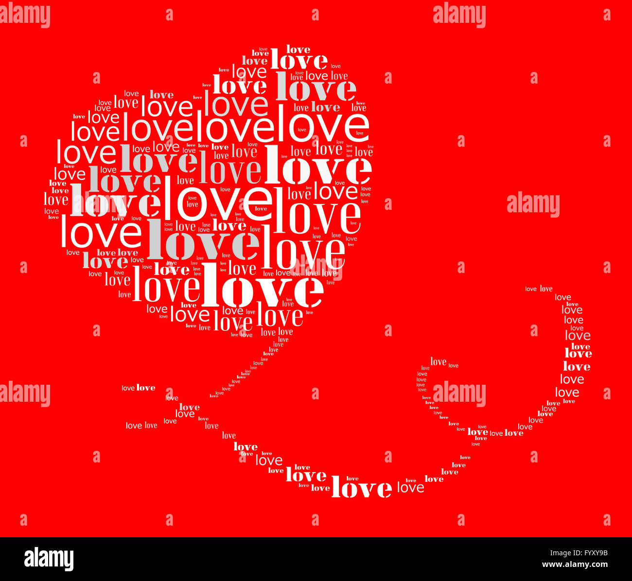 Valentines day card word cloud concept - Stock Image