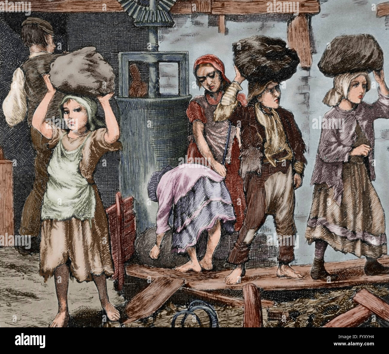 Children working in an industry. Early 19th century. Engraving. Colored. - Stock Image